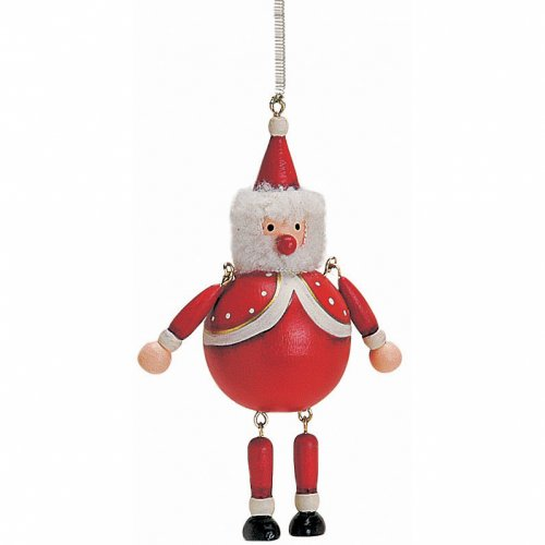 Burattino Babbo Natale con Molla (8 cm) - Legno