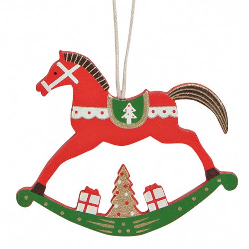 Addobbo Natalizio Cavallo A Dondolo Rosso (8 cm) - Legno