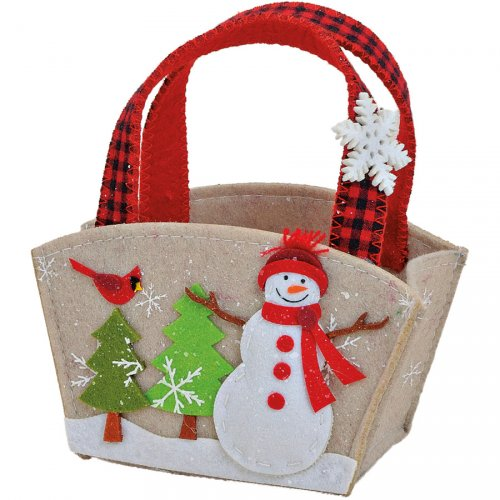 Gift Bag Piccola Pupazzo di Neve 15 x 10 cm) - Feltro