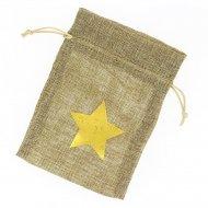 1 Bustina in tessuto stella oro - beige grezzo