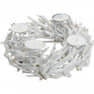 Corona dell'Avvento Legno Bianco (35 cm)