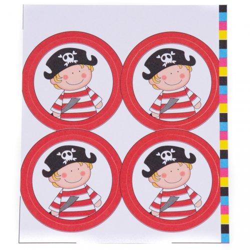 """12 Decorazioni rotonde """"Jack il pirata"""" (5 cm)"""