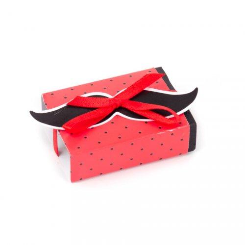 10 piccole scatole per confetti con adesivo Baffi